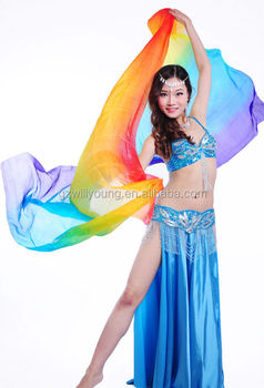 Rainbow Color Silk Veils Belly Dance Real Fan Veils270