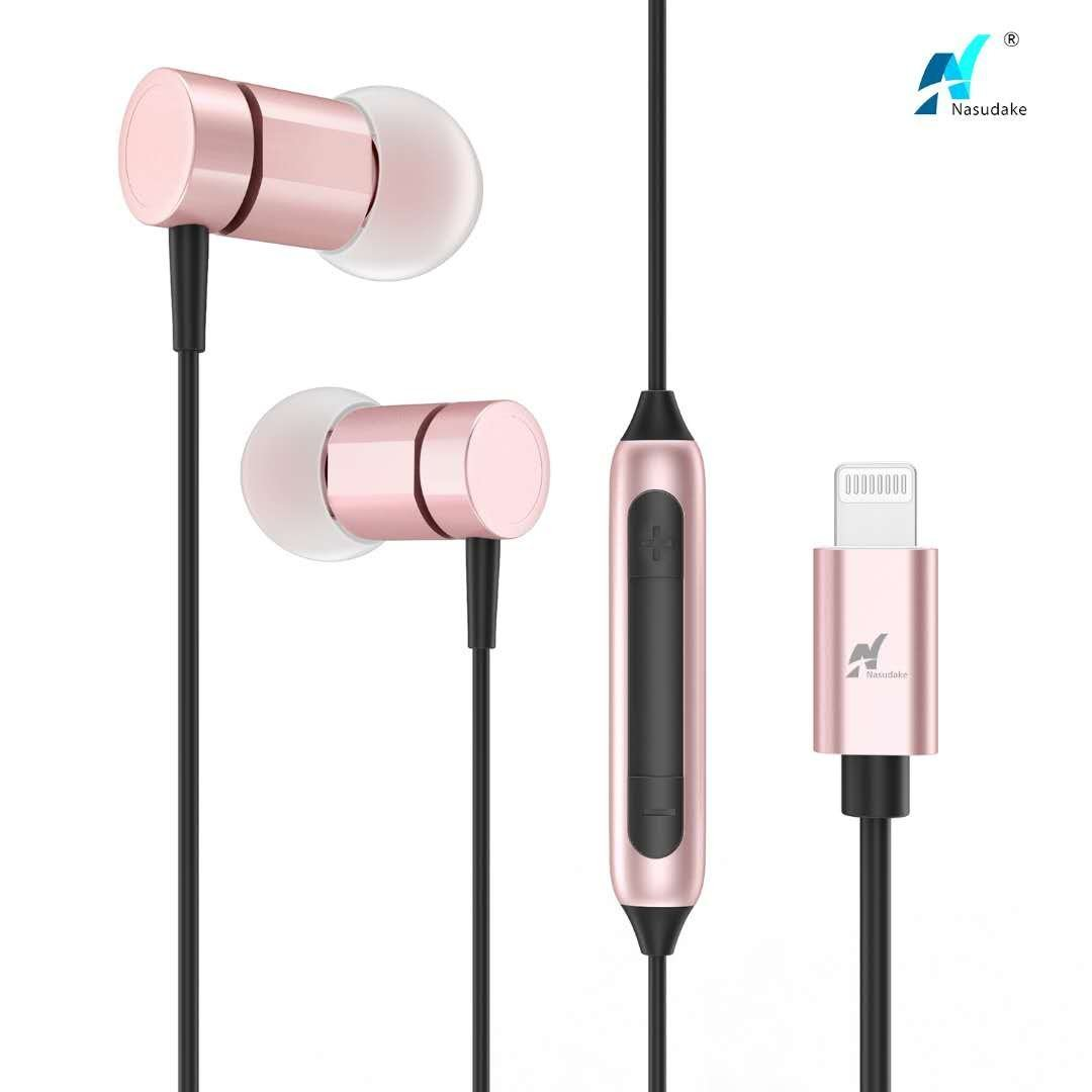 NASUDAKE MFi A1+ Lightning Earbuds, Stereo iPhone Earbuds with Noise Cancelling Feature In-Ear Lightning Headphones Built-in Mic & Remote Wired Earphone for iPhone X, 8/8 Plus (Gold Rose)