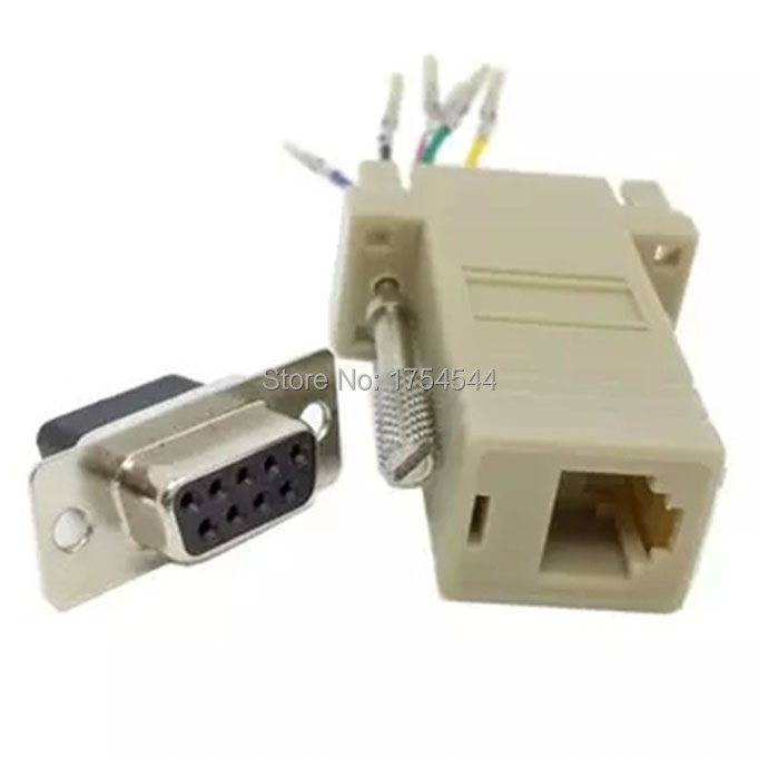 Hot Sale Good Quality Wholesale DB9 Female to RJ45 Female F/F RS232 Modular Adapter Connector Convertor Extender
