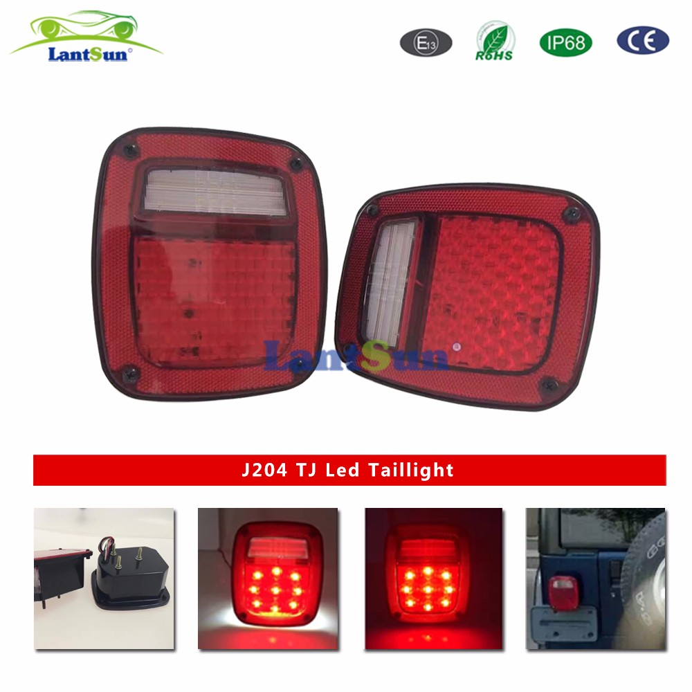 Lantsun For Jeep TJ Replacement Tail Lights RED LENS w/ Bright Red LED's LED License Plate Lights J204