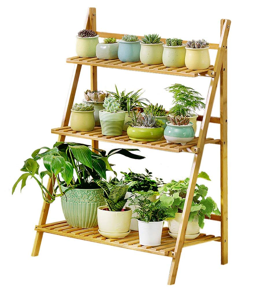 Bamboo 3 tier bamboo shelves for foldable bamboo gardening rack holding plant