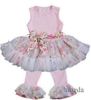 Girls Rose Pink Ruffled Top with Pants and Sash Outfits 1-6Y