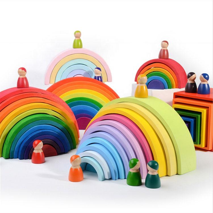 Custom Children Educational Wooden Rainbow Building Block Set Toys