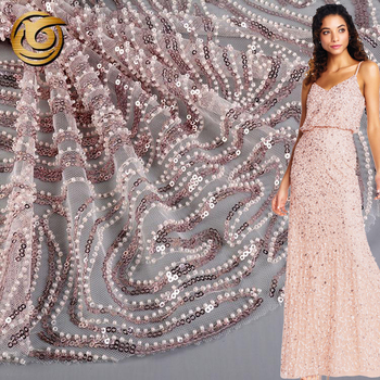 Oem accept popular embroidery mesh evening dress handwork beaded fabric