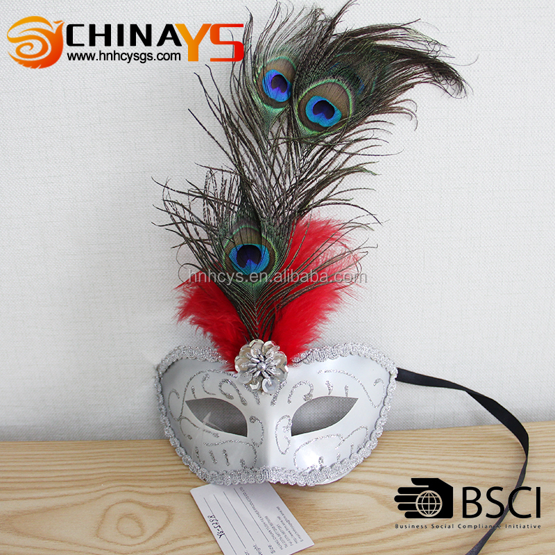 BSCI Wholesale handmade cheap dance Silver Lace YS5298 peacock feather white masquerade masks with low price