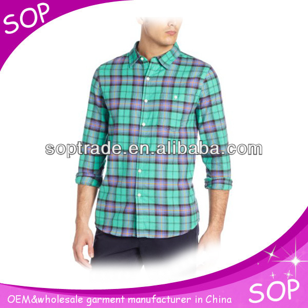 100% Organic Cotton mens classic plaid pattern slim fit t shirt import in china