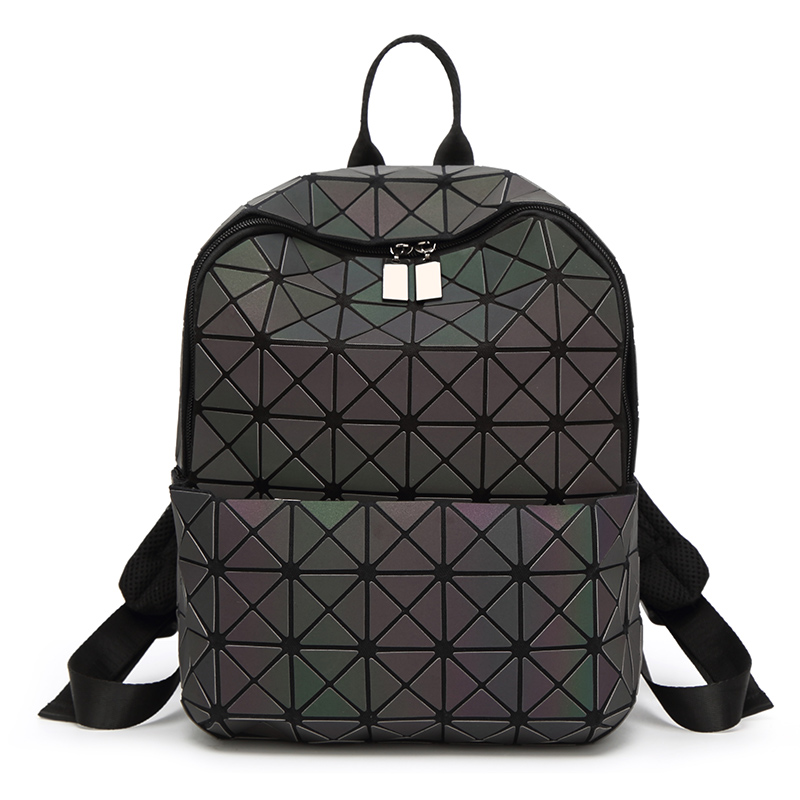 Fashion Luminous Bao <strong>Backpacks</strong> Woman Folded Geometric <strong>Backpack</strong> Women Noctilucent Female Bagpack For Girl School bag mochila