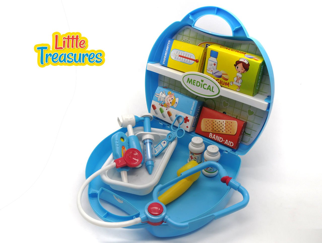 Little Treasures Dr Pretend Medical Toy Kit – Complete with Doctor Medical kit, Medical Instruments, and Supplies – 13 pieces play set for children 3+