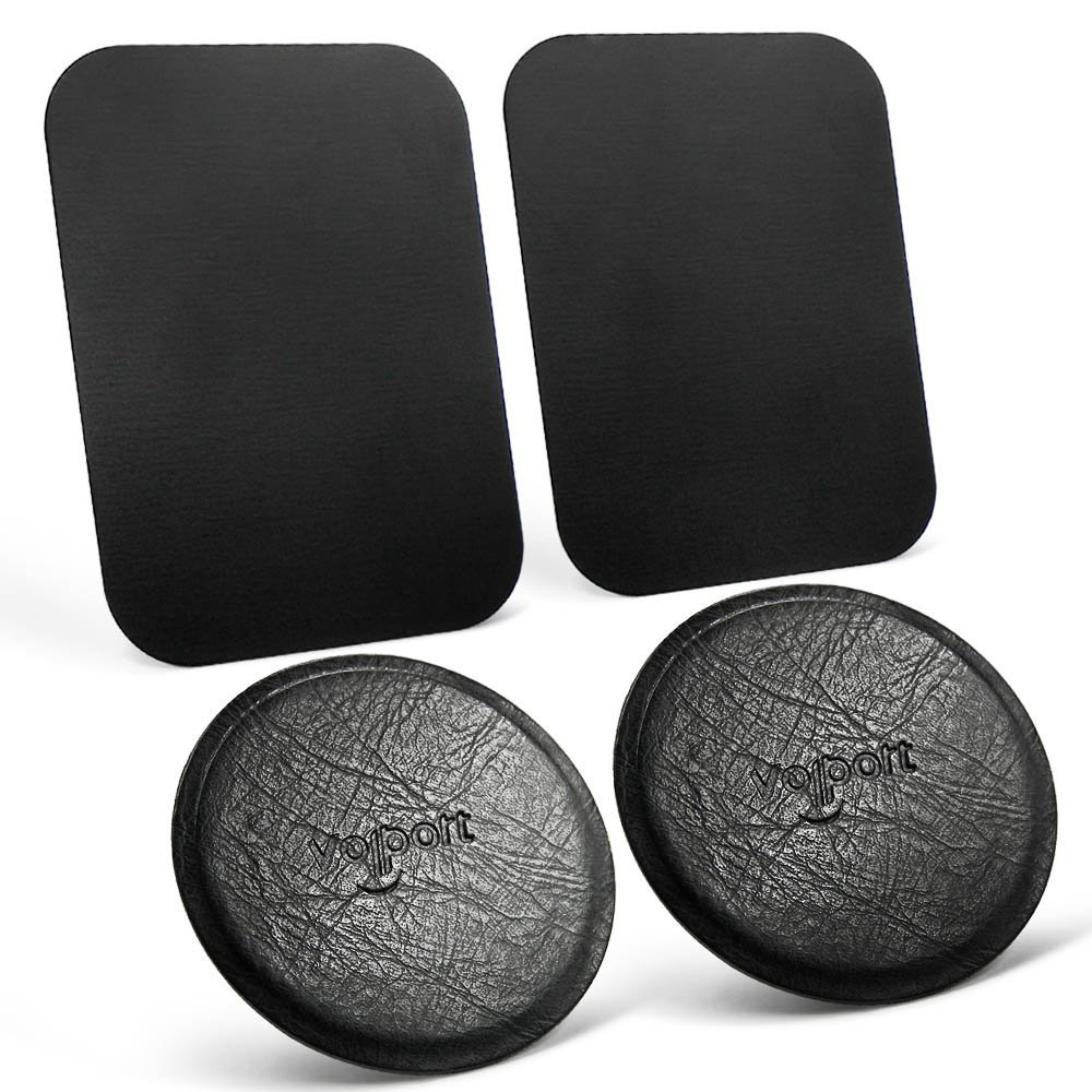 Leather Mount Metal Plate 2 Round, Universal Metal Plate 2 Rectangle, for Magnetic Car Phone Mount Holder(Black+Rectangle)