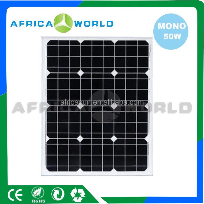 AFRICA WORLD SPM MONO-50 factory for sales 50w solar panel 12v manufacturers in China