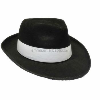 Adult Black Gangster Hat Felt Trilby Fedora Al Capone Fancy Dress Mafia  Sa1266 - Buy Trilby Hat a516812deaf