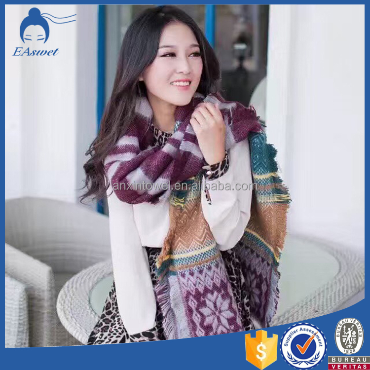 The fashion best sell long jacquard woven acrylic muffler scarf