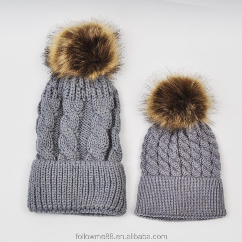 500de3111a1 Mom and me winter hats with faux fur pompoms Women Baby Kids fur pompons  Bobble Hats