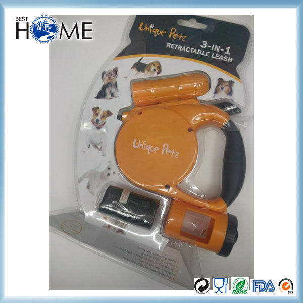 3-IN-1 Dog Leash Retractable LED Dog Waste Bags With Dispenser And Leash Clip