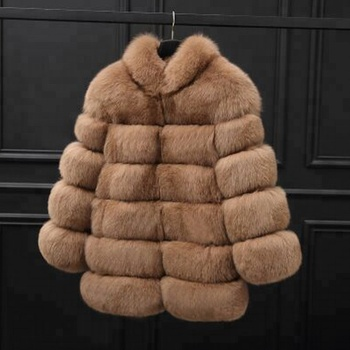 2018 winter best selling stand up collar color block  jacket ladies women faux fur coat