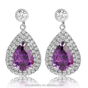 Antique Jewellery Latest Fashion Gold Hanging Pave Purple Diamond Stud Earrings