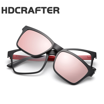 447a86498a HDCRAFTER Brand Magnetic Clip Retro TR90 Sunglasses Polarized Lens Vintage Unisex  Eyewear Accessories Sun Glasses For