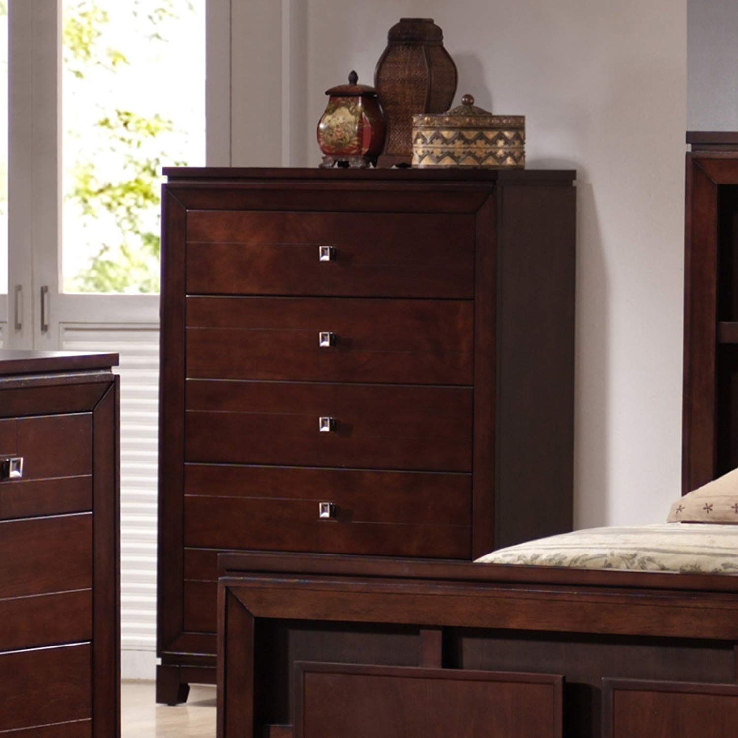 5 Drawer Chest, Polished, Metropolitan Style, Highlighted by Solid and Durable Hardwood Construction, French and English Dovetails, Includes a Hidden, Felt-Lined Sixth Drawer, Warm Cherry