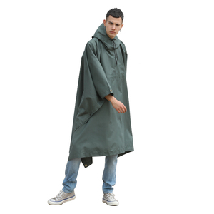 Adults polyester reusable rain poncho for man out wear 100% waterproof raincoat poncho army green