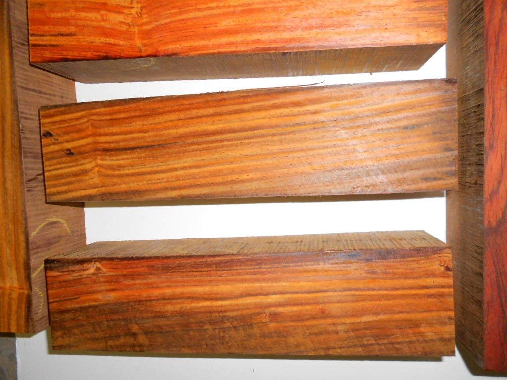 """Cocobolo Rosewood turning square 3 x 3 x 18"""" long kiln dried, super figure!"""