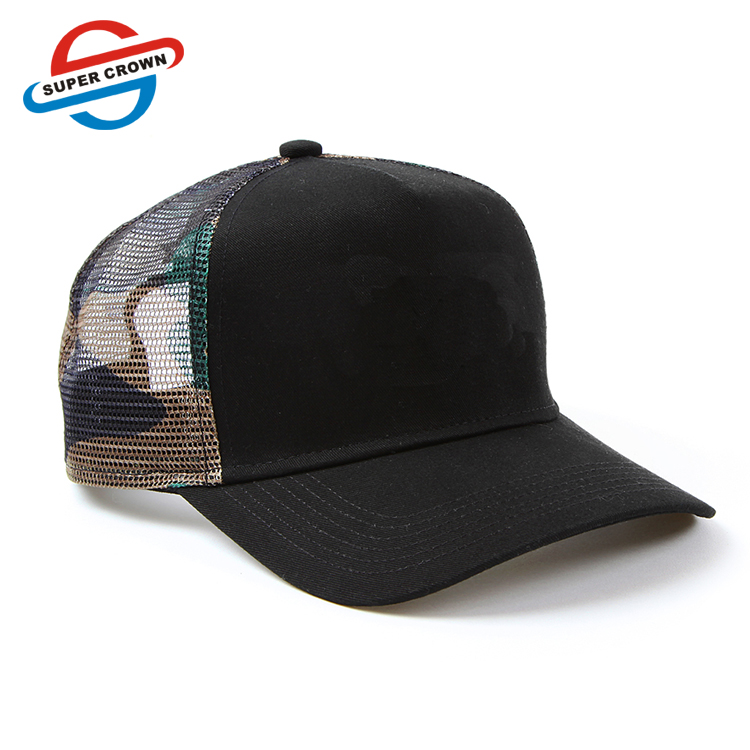 mens 5 panel custom black with green camouflage mesh trucker cap