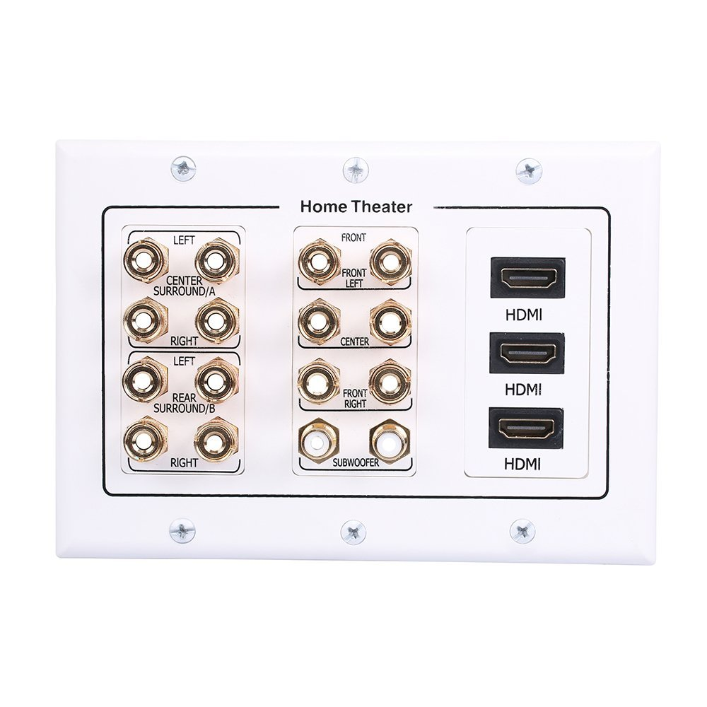HONGYE 3-Gang Premium Gold Plated 7.2 Surround Sound Distribution Home Theater Wall Plate with 7 Pair Speakers 2 Port RCA Jacks and 3 High Speed HDMI Ports for Home Theater TV PS4 Xbox HDTV 4K(White)