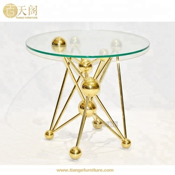 Modern Furniture Gl Top Atomic Chrome Gold Leaf Round Side Table Product On