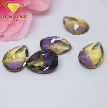 Purple Yellow Mix Color Crystal Pear Cut Hydro Ametrine Quartz