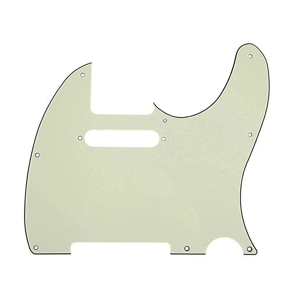 Domybest 3Ply Aged Pearloid Pickguard Tele Style Guitar Pickguard Aged (Dark green)