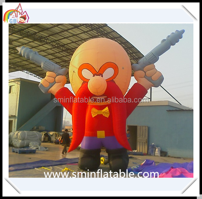 Wholesale inflatable tricky man, air blown outdoor display inflatable man with gun, advertising promotion cartoon movie figure