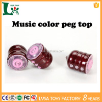 Flashing toy product peg top changing color led plastic peg top