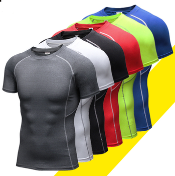 Men's Bodybuilding Muscle Training Short Sleeve Wholesale compression gym wear male fitness t shirt