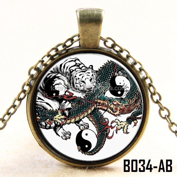 25mm Antique bronze plated cheap Yin Yang chinese character tiger and Dragon necklace pendant for men