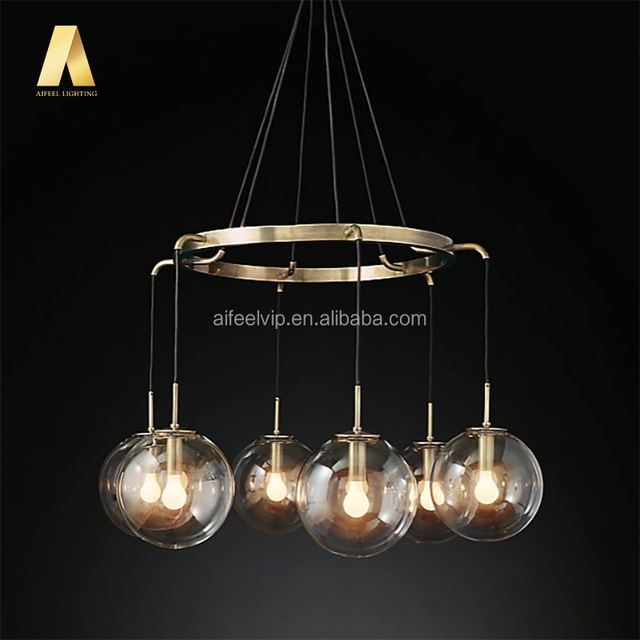 Loft Antique Round Shape Big Iron Glass Ball Metal Chain Brass Bronze Chrome Colour Fancy Chandeliers