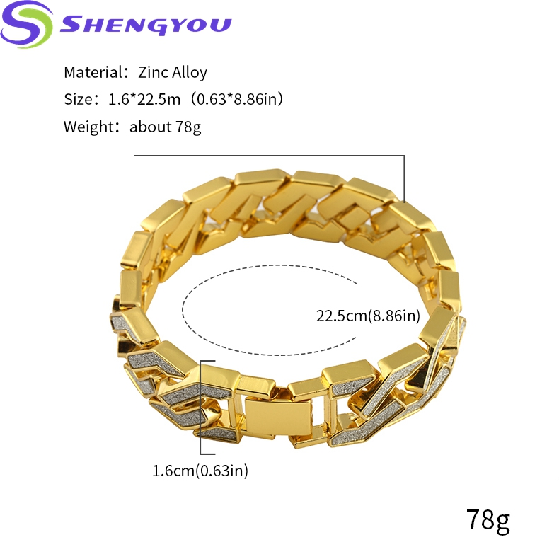 22.5cm Gold Plated Two-Tones Zirc Alloy Bracelet Hip Hop Jewelry For Men