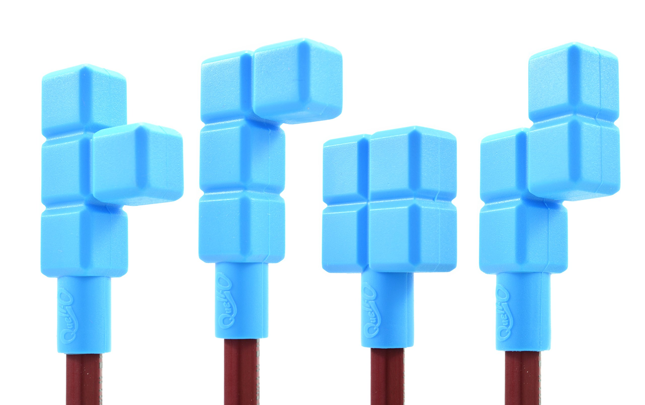 Quad-Blockz Pencil Toppers 4-Pack Chew & Fidget Tool - Sensory Stimulation & Development For Mild Chewers - Tough, Blue - by Quell-O