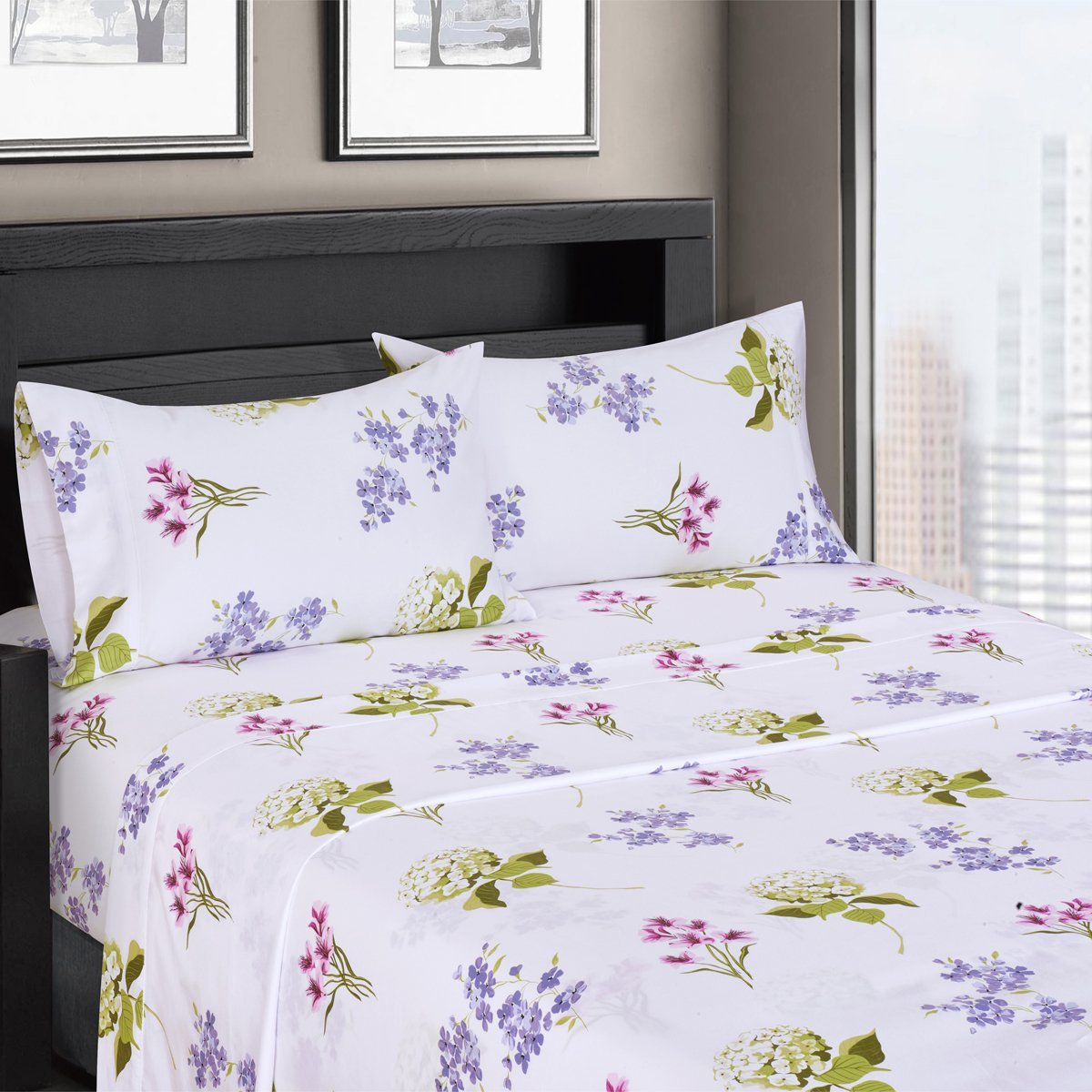 Blossom Floral Sateen Cotton Sheets, 4pc Queen Bed Sheet Set 100% Cotton, Superior Sateen Weave, Silky Soft, Deep Pocket, Modern Reactive Print, 300 Thread Count