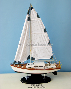 Nautical Racing Yacht Vessel Model,White 46x13x69cm,Hand Craft Wooden  Sailing Ship Replic Model - Buy Sails For Yachts,Modern Yacht Model,Landing
