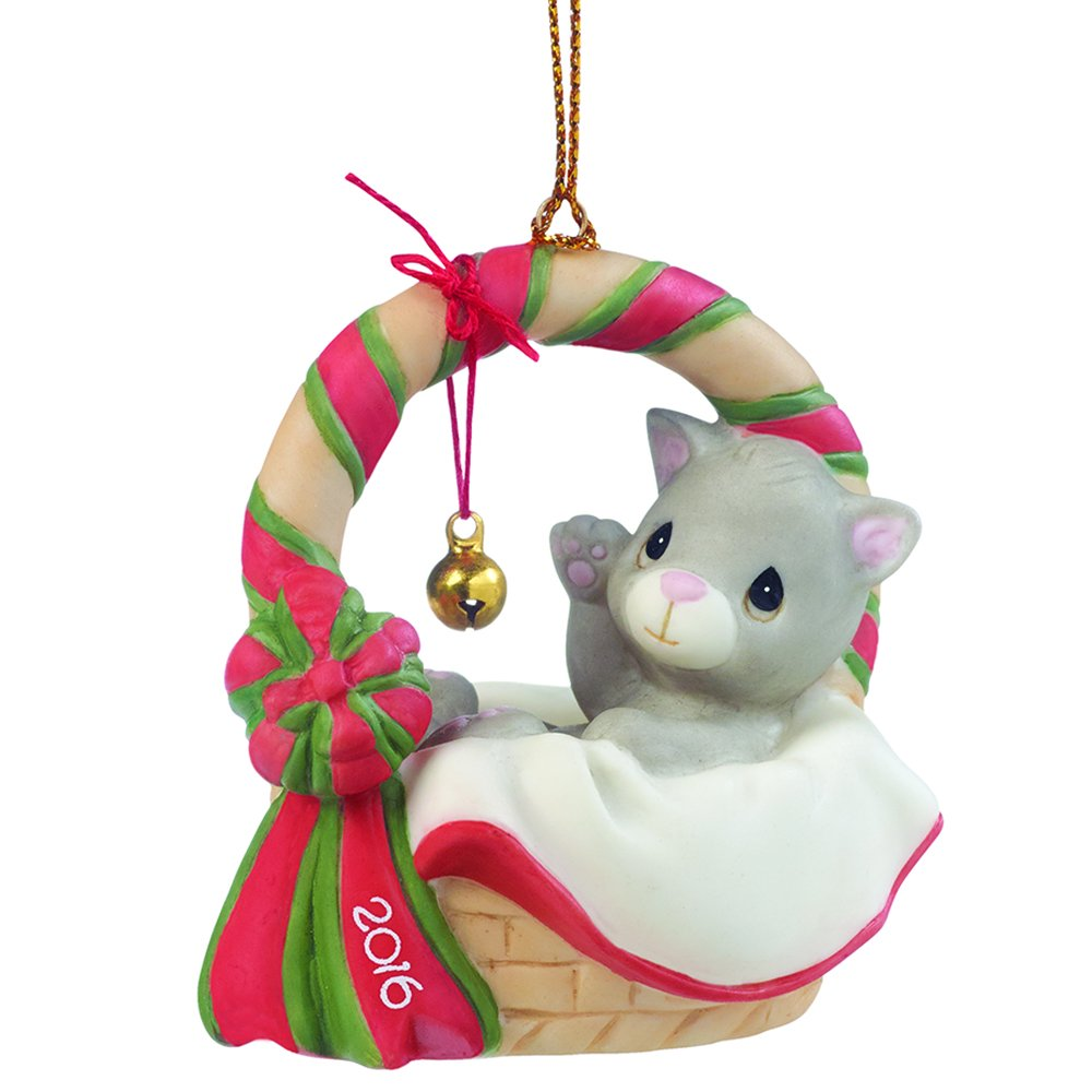 """Precious Moments, Christmas Gifts, """"Meowie Christmas"""", Dated 2016, Bisque Porcelain Ornament, #161009"""