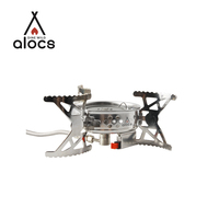 ALOCS stainless steel euro camping foldable mini gas stove pellet on stocked