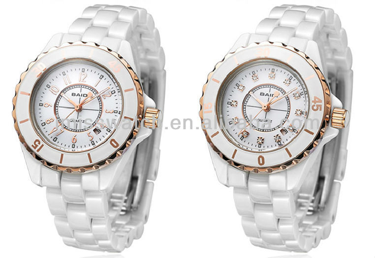 Unique design clear scale calendar dial rotating gold plating bezel lover's fashion luxury ceramic watches BD71125