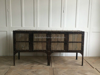 Industrial Metal Iron Reclaimed Wood Sideboard Buy Sideboard
