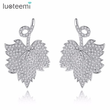 LUOTEEMI New Arrival Womens Fashion Brinco CZ Crystal Silvertone Canadian Maple Leaf Charm Stud Earrings