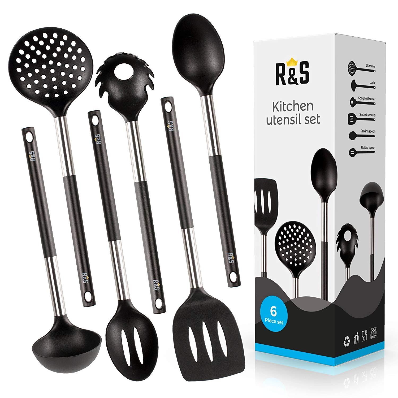 Kitchen Utensils - 6 Best Kitchen Utensil Set - Black Nylon Cooking Utensils - Kitchen Gadgets Gift