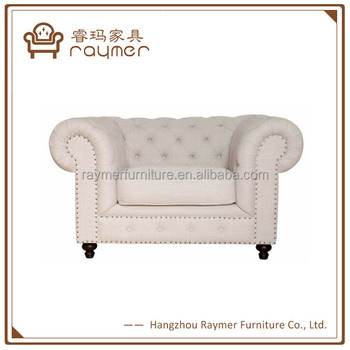 Rolled Arm Natural Linen Chesterfield Sofa French Style Single Armchair