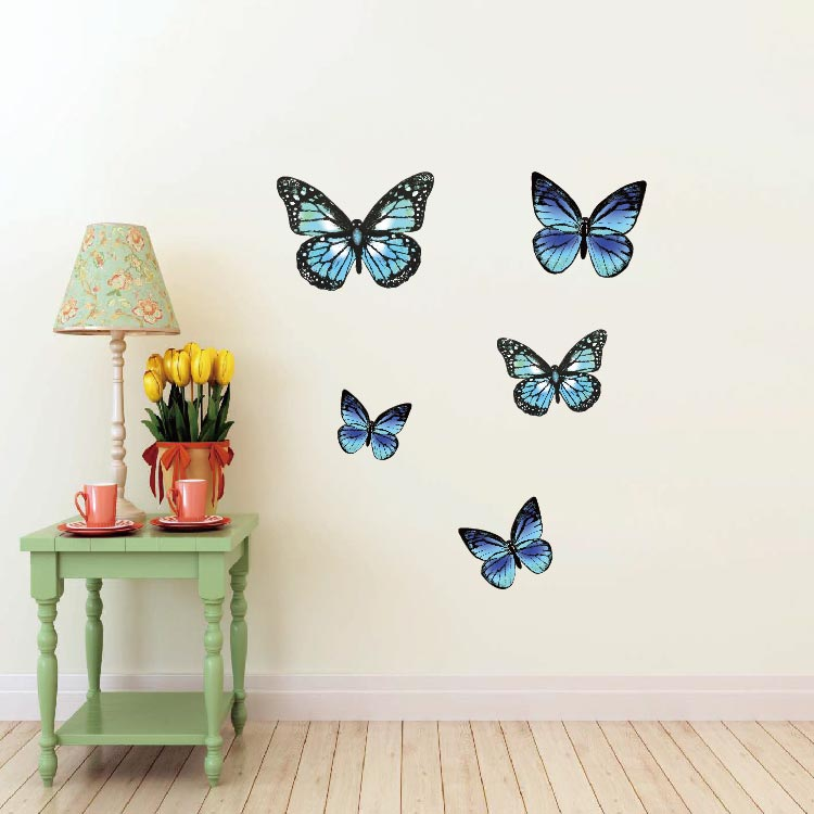Personnaliser Magie Amovible Home Decor PVC Vinyle Papillons Stickers Muraux, Coloré Animaux Stickers Muraux Autocollants