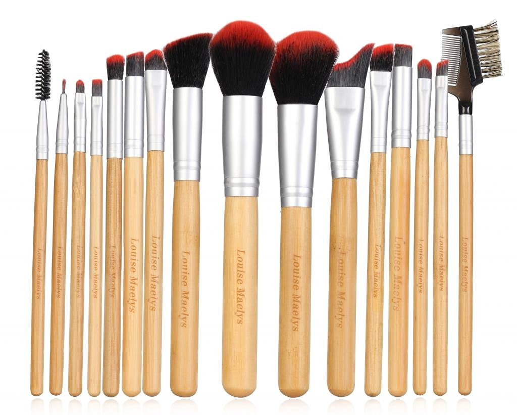 LOUISE MAELYS Natural 16pcs Bamboo Makeup Brushes Set Cosmetics with Eco-friendly Bag