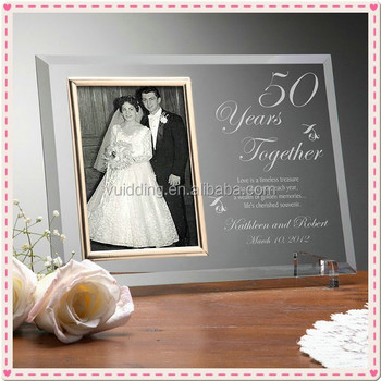 Personality Glass Engraved 50th Wedding Anniversary Photo Frame