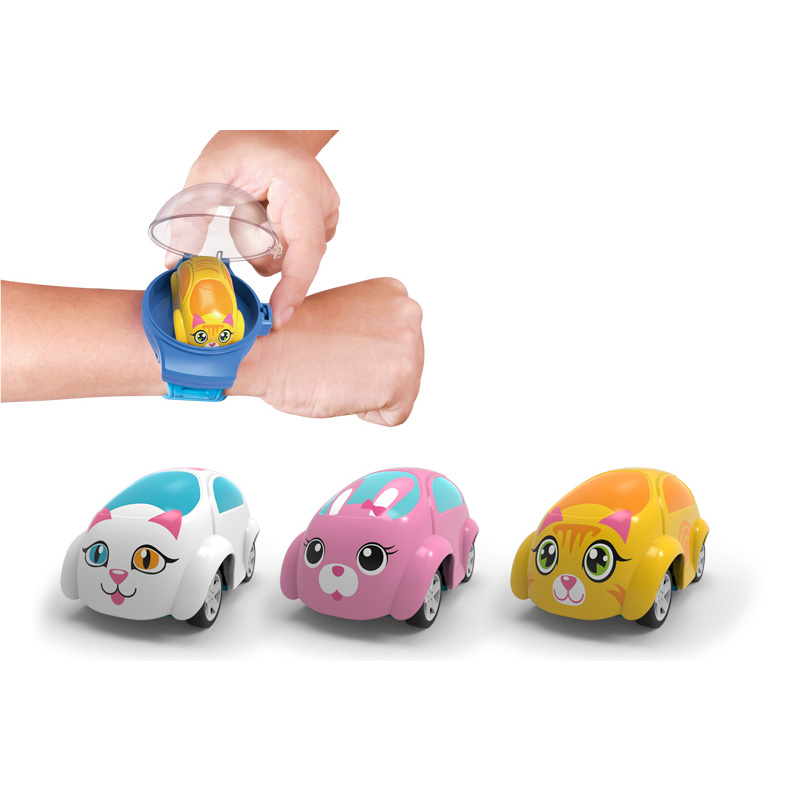 Cutely mini wrist watch toy pull back cartoon speed toy car