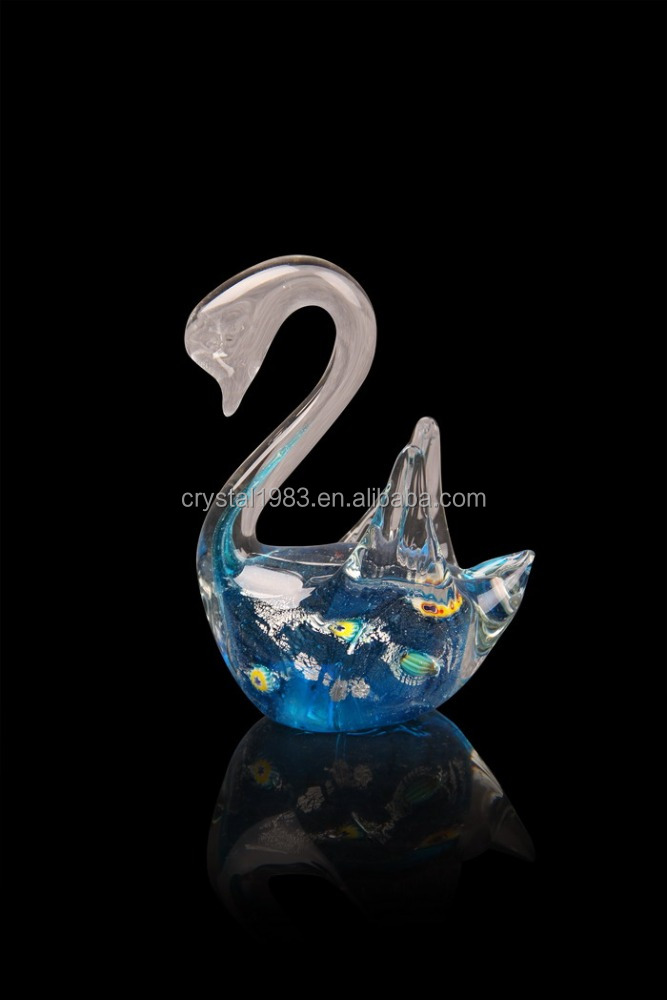 Hot selling high-grade blue swan glass desktop decoration, wholesale swan ornaments